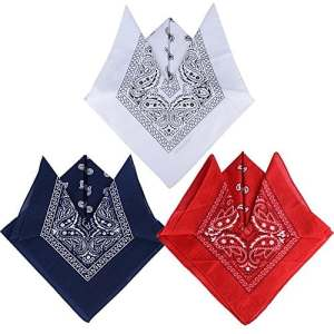 QUMAO 3pcs Bandana Foulard Original Paisley 100% Coton Multicolore Env.55cm*55cm (Bandanas, 3pcs(Rouge + Blanc + Bleu Marine))