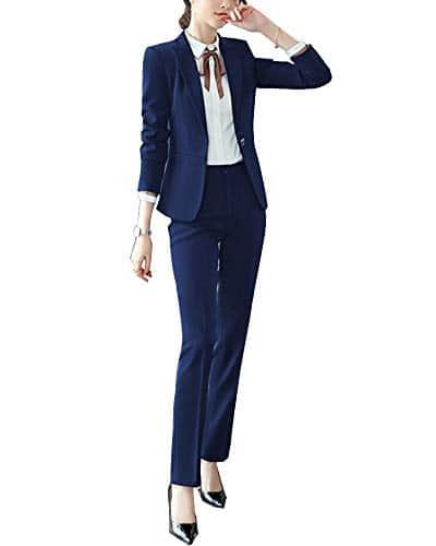 Smoking Femmes 2 Pièces Slim Costume d'affaires Formel Blazer Et Pantalon/Jupe Ensemble Bleu 2 S