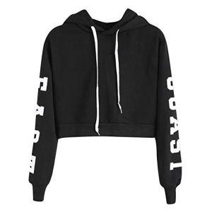 Sweatshirt Femme Imprimé, LMMVP Femmes Sweat à Capuche Des Lettres Pullover Sweat-shirt Chemisier Polyester (M, Noir 2018)