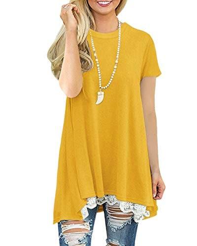 Tunique Femme Manche Courte Grande Taille Coton Hiver Casual Blouse Top Tee Shirt Longue [Violet XXL]