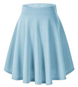 Urban GoCo Femmes Rétro Jupe Basique Plissée Patineuse Fille Elastique Court Midi Jupe (S, Bleu Clair-Longue)