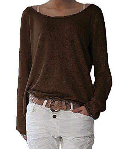 Zanzea Femmes Automne Casual Vrac Lâche Chemise Manches Longues Coton T-Shirt Top Blouse Pull Shirt 01-Café FR 38-40/Etiquette Taille M