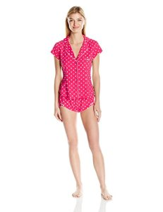 Betsey Johnson Women's Stretch Cotton Flirty Short Set, Ginger Dot, Medium