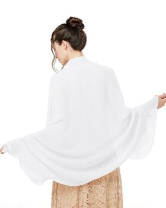 Bridesmay Écharpe Châle Foulard Étole Femme Printemps Eté en Mousseline Polyester Convient pour une Variété d'occasions White