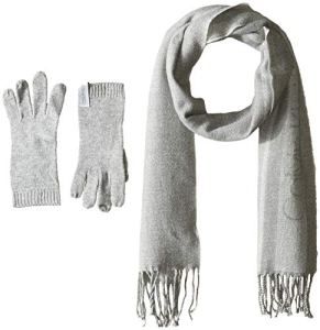 Calvin Klein Women's 2 Pc Varsity Ck Scarf, Knit Touch Glove