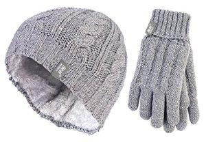 HEAT HOLDERS – Femme chaud hiver doublure polaire thermique bonnet/chapeau et gants ensemble en 7 couleurs (M/L, Light Grey)