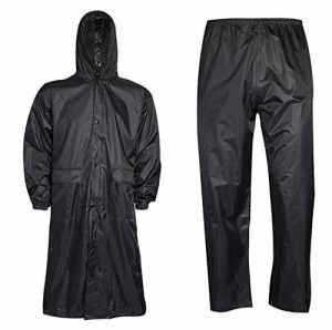 Islander Fashions V�Tements de Pluie Unisexe Imperm�Able � Long Manteau et Pantalon Ensemble Robe de Travail Adulte Noir Grand