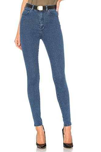 Jean Femme Skinny Taille Haute Super Stretch Pantalons Pants en Denim Élastique Bleu FR38 (Taille Fabricant 27)