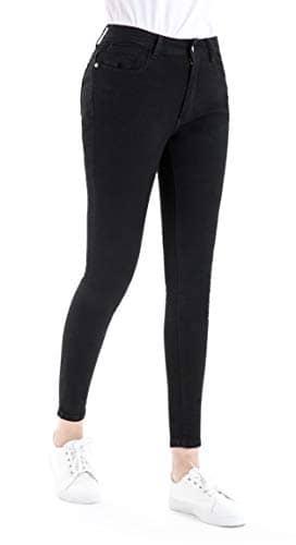 Jean Skinny Slim Stretch Taille Haute pour Femmes,Noir