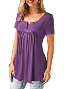 KISSMODA Chemises Pourpre pour Femmes Tunique Tops Court Blouse Manches Col V Petit,1-violet,S
