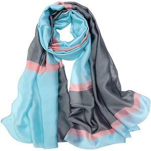 LD Foulard Femme Soie Polyester Écharpe Tissu Satiné Doux Art à la Mode Etole/Châle pour Demoiselles Soirée Mariage Plage 180 * 90 cm(Gris bleu2)