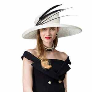 OLADO Chapeaux élégants de Femmes Formel Mariage Royal crème Solaire Chapeau Fedoras Plume Ramie