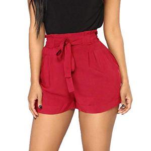Pantalons Court Femmes, SANFASHION Shorts Bermudas Grande Taille Pantalons Court Poche Taille Bandage Sorts Courir Pantalons à Jambes Jogging Larges ete Palge Vin 1, S