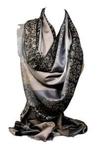 Qualité deux faces impression libre en relief Pashmina sensation Wrap écharpe étole châle (Café Floral/Rayures)