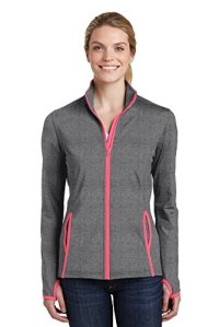 Sport-Tek Ladies Sport-Wick Stretch Contrast Full-Zip Jacket. LST853 (XS, Charcoal Grey Heather/ Hot Coral)