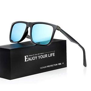 TJUTR Miroir Lunette De Soleil Polarisée Pour Homme et Femme Protection UV400 (Noir/Bleu(miroir))
