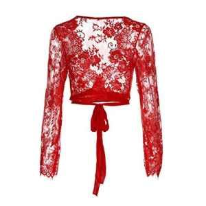 xinxinyu Lingerie Femme, Sexy Dentelle Soutien-Gorge Manche Longue Chemise sous-vêtements Grande Taille (XL, Rouge)