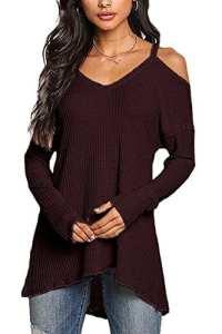 YOINS Femmes Pull Sweater Col V en Tricot Épaules dénudées Pullover Top Blouse Chemise Manche Longue Chandail Lâche (M/EU 40-42, Rouge Foncé)