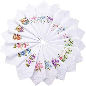 18 Dames Mouchoir en Coton de Fleurs Brodées avec Dentelle Mouchoirs de Coton Brodés Colorés pour les Femmes