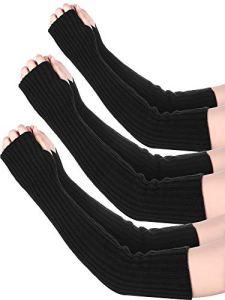 3 Paires Chauffe-Bras Long Gants d'Hiver sans Doigts Chauffe-Bras Poignets en Tricot avec Trou de Pouce pour Femmes Filles (Jeu de Couleurs 2)