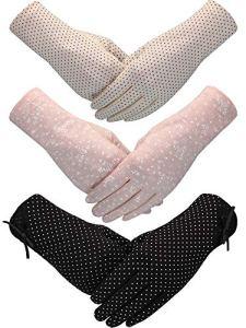 3 Pairs Gants Anti-Soleil de Femmes Gants de Conduite Anti-Dérapants Protection UV Gants de Plein Air de Printemps d'Été pour Femmes et Filles (Style C, Couleur 4)