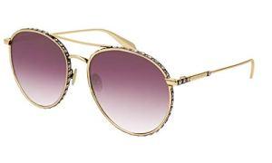 Alexander McQueen – Lunette de soleil – Femme Or Oro Opaco Lenti Rosa Fume' taille unique