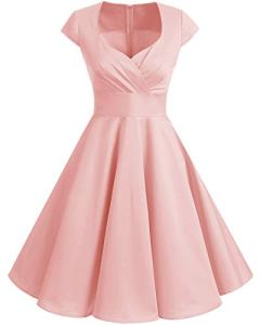Bbonlinedress Robe Femme de Cocktail Vintage Rockabilly Robe plissée au Genou sans Manches col carré Rétro Blush M
