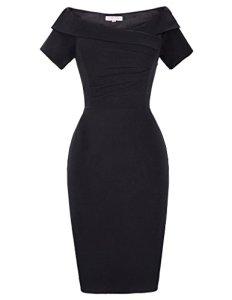 Belle Poque Robe Tailleur Femme Noir Zip au Dos Vinage Taile 42 BP158-1