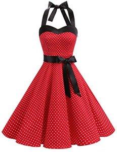 Dresstells, Version3.0 Vintage 1950's Audrey Hepburn pin-up Robe de soirée Cocktail, Style Halter années 50 à Pois, Rouge XL