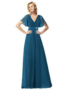 Ever-Pretty Robe de Soirée Longue Femme Col V Manches Courtes 42 Bleu Sarcelle