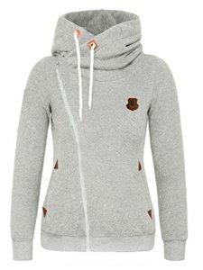 FANTIGO Mode Femmes Automne Hiver Sweats à Capuche Casual Hoodies Pullover Manches Longues Vestes Oblique Zippé Sweat-shirt(Gris clair,XXL)