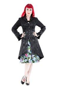 Hearts & Roses Femme Andromeda Rave Steampunk Gothique Corset l'arrière Manteau Brocart – Noir (38)