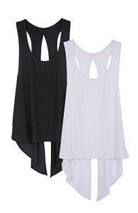 icyzone Débardeur T-Shirt de Sport Femme – Tops sans Manches Gilet Dos Ouvert Exercice Yoga Running T-Shirt (L, Noire/Blanc)