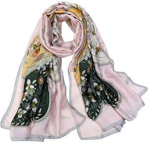 LD Foulard Femme Soie Polyester Écharpe Tissu Satiné Doux Art à la Mode Etole/Châle pour Demoiselles Soirée Mariage Plage 180 * 90 cm(Rose vert)