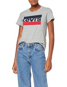 Levi's The Perfect – T-shirt – Manches courtes – Femme, Gris (Sportswear Logo Tee Smokestack 303), X-Small
