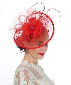 Lucky Leaf Femmes fille Bibis & cheveux Clip épingle chapeau plume mariage Cocktail Tea Party Hat (8-Red)