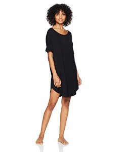 Natori Women's Feathers Essentials Sleepshirt, Black, Small
