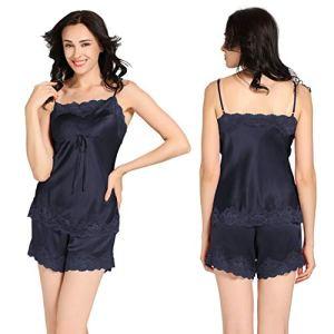 PANGZAI Le Pyjama Convient aux Femmes en Camisole de Soie pour Femmes, Bleu foncé, XL