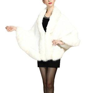 PLAER aux femmes Faux Fox Fur Châle Cape manteau cape Manteau-tricot (crème laiteux)