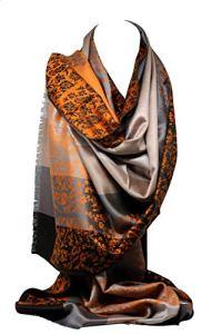 Qualité deux faces impression libre en relief Pashmina sensation Wrap écharpe étole châle (Orange Floral/Rayures)