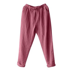 SANFASHION Femme Pantalon Causal Coton Lin Ample Fluide Confortable Plage Casual Pants (46, Rouge vin uni)