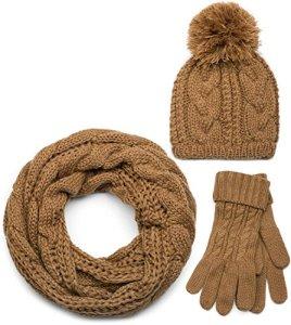 styleBREAKER Ensemble composé d'une écharpe, d'un bonnet et de gants, écharpe loop avec motif tricoté, bonnet à pompon et gants, femmes 01018208, couleur:Cognac/Loop echarpe tubulaire