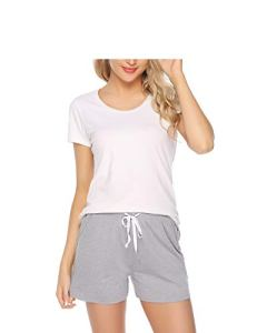 Sykooria Femme Shorts de Pyjama 100% Coton,Couleur Unie et Rayures,Sport Shorts, Gris, L