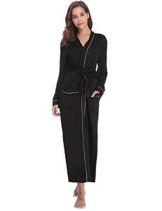 Sykooria Femmes Peignoirs de Bain en Tricot Coton Casual l'hôtel Spa Sauna Vêtements de Nuit avec 2 Poches Manches Longues, Noir, XL