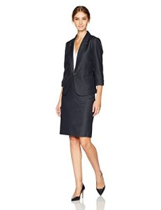 Tahari by Arthur S. Levine Women's Denim Skirt Suit with Gunmetal Toggle Closure
