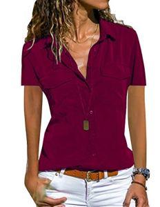Tunique Femme Grande Taille, Chemisier Chic Femme Blouse Fluide Manches Courtes Col Rabattu Tee Shirt Blouses et Chemises Basique Décontracté T Shirt Haut Top (D-Bordeaux, XXL)