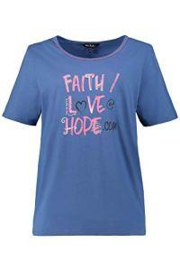Ulla Popken Femme Grandes Tailles T-Shirt de Pyjama Bleu Jean 52/54 720889 73-50+