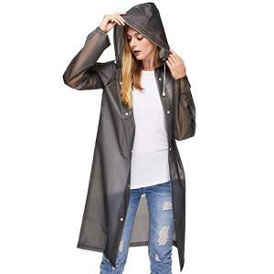 UniqueBella – Manteau imperméable – Parka – Fille Noir (Noir, XL)