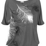 Uniquestyle Femme Col Rond ¨¦Paules Manches Courtes Tee Shirt Top Haut Imprim¨¦ Plume Taille Loose Grey XL