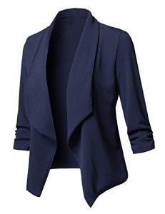 Uranus Veste de Tailleur Femme Chic Couleur Unie Blazer Cintré Casual Grande Taille Manteau Asymétrique (FR 38-40(Medium), Bleu Marine)